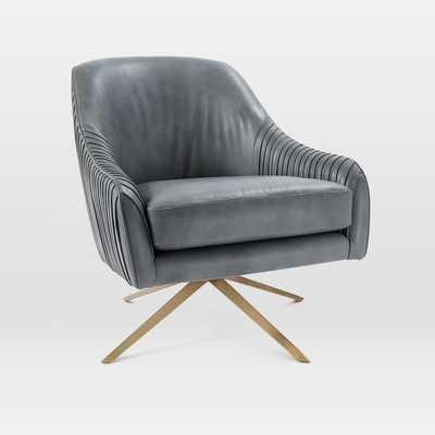 Roar + Rabbit Swivel Chair, Aspen Leather, Fog, Antique Brass - West Elm