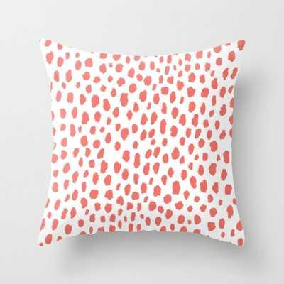 "Handmade Polka Dot Paint Brush Pattern (Pantone Living Coral and White) Throw Pillow - 18""x18"" - Society6"