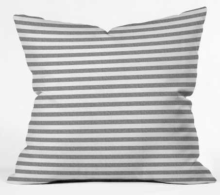 "Little Arrow Design Co Stripes in Grey Indoor Throw Pillow - 20"" x 20"" - Wander Print Co."