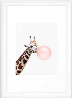 Giraffe, Bubble gum, Pink, Animal, Nursery, Minimal, Trendy decor, Interior, Wall art Framed Art Print - 15x21 - Society6