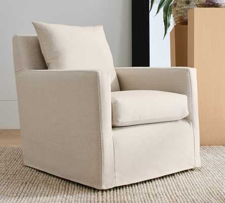 Ayden Slipcovered Swivel Glider, Polyester Wrapped Cushions, Performance Chateau Basketweave Oatmeal - Pottery Barn