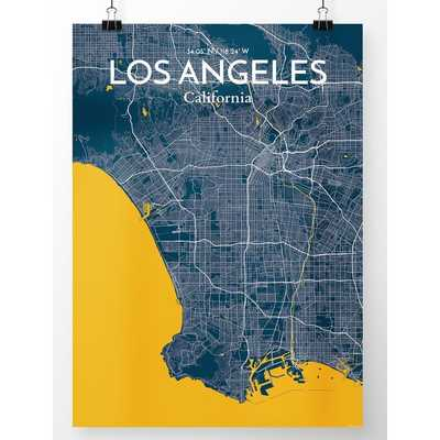 """'Los Angeles City Map' Graphic Art Print Poster in Amuse_27.6"""" x 19.7"""" - Wayfair"""