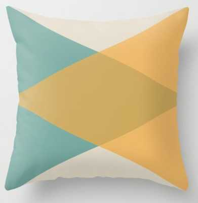 Mid Century - Yellow and Blue Throw Pillow - Society6
