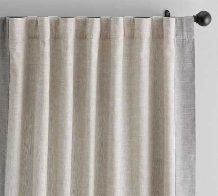 Emery Linen/Cotton Border Rod Pocket Curtain - Oatmeal/Gray - Pottery Barn
