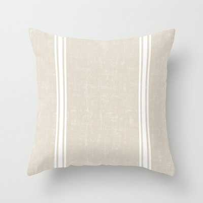 Vintage Country French Grainsack White Stripes Against Bone Color Background Indoor Throw Pillow - Society6