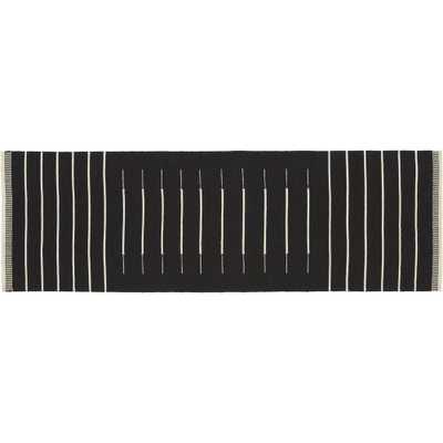 Black with White Stripe Runner 2.5'x8' - CB2