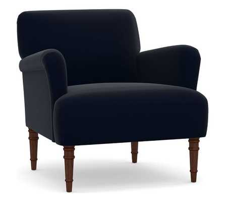 Morgan Upholstered Armchair, Polyester Wrapped Cushions, Performance Plush Velvet Navy - Pottery Barn