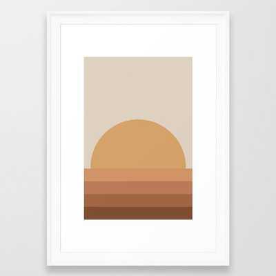 Minimal Retro Sunset / Sunrise - Desert Orange Framed Art Print - Society6