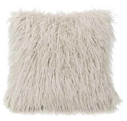HiEnd Accents Mongolian Faux Fur Pillow White - Hayneedle