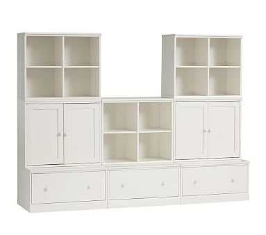 Cameron 3 Cubby, 3 Drawer Base & 2 Cabinet Set, Simply White - Pottery Barn Kids