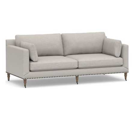 Tallulah Upholstered Sofa, Down Blend Wrapped Cushions, Heathered Twill Stone - Pottery Barn
