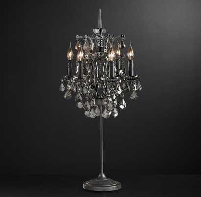 19TH C. ROCOCO IRON & CRYSTAL TABLE LAMP - RH