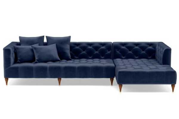 """Custom Ms. Chesterfield Sectional Sofa with Right Chaise  Oiled Walnut with Brass Cap Stiletto Legs - 114"""", DECIDE LATER FABRIC - Interior Define"""