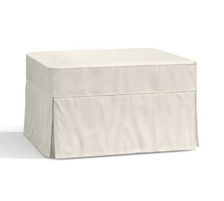 PB Basic Slipcovered Ottoman, Polyester Wrapped Cushions, Washed Linen/Cotton White - Pottery Barn