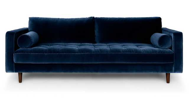 "Sven Cascadia Blue 88"" Three seater Sofa - Velvet - Article"
