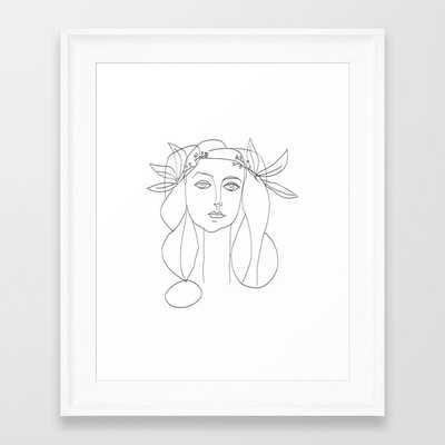 Picasso Line Art - Woman's Head Framed Art Print - Society6