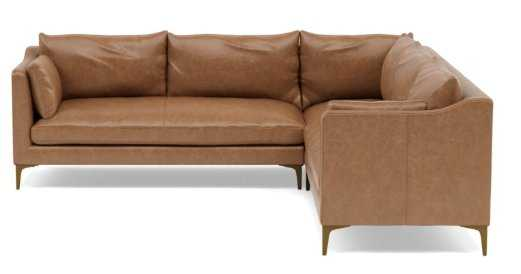 """CAITLIN LEATHER BY THE EVERYGIRL Corner Leather Sectional Sofa // 97"""" - Interior Define"""