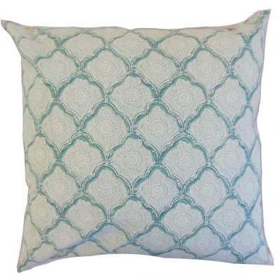 """Padma Geometric Pillow Aqua Mist - 22"""" x 22"""" - with down insert - Linen & Seam"""