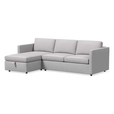 "Harris Sectional Set 06: Right Arm 65"" Sofa, Left Arm Storage Chaise, Poly, Chenille Tweed, Frost Gray, - West Elm"
