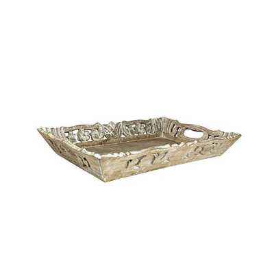 Wisteria Tray Medium in Distressed Ivory over Natural - Koa Artisans