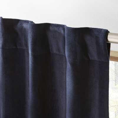 """Navy Stripe Velvet Curtain Panel 48""""x96"""" - CB2"""