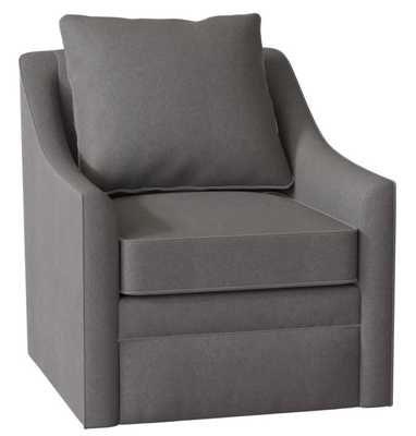 Quincey Swivel Chair in Devon Pewter - Birch Lane