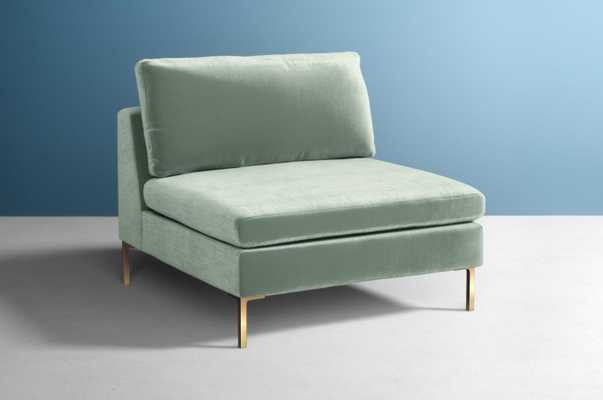 Edlyn Chair - Soft Mint upholstery fabric and brass legs - Anthropologie