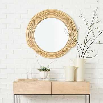 "Cascade Mirror, Round, Natural, Cane, 30"" - West Elm"