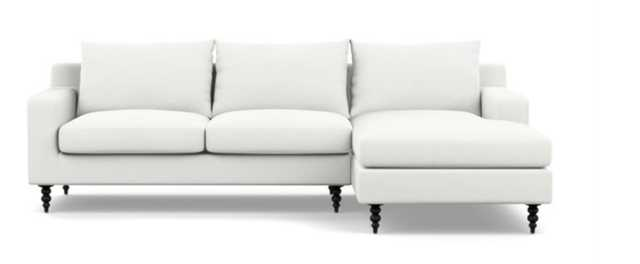 Sloan Chaise Sectional in Swan Fabric with Matte Black Tapered Turned Legs - Interior Define