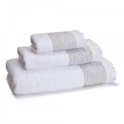 AMAGANSETT LINEN-CUFFED HAND TOWEL - WHITE - Kassatex