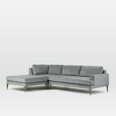 Andes Sectional Set 5: Right Arm 2 Seater Sofa + Ottoman + Corner, Metal, Distressed Velvet, Blackened Brass - West Elm