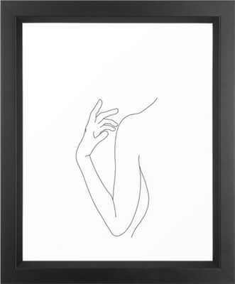 Line drawing figure illustration - Elsie Framed Art Print - Vector Black - Mini 15 x 21 - Society6