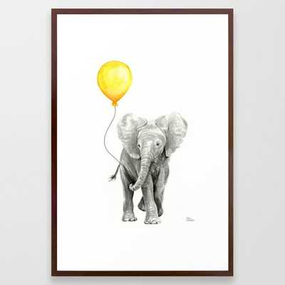 Elephant Watercolor Yellow Balloon Whimsical Baby Animals Framed Art Print - Society6