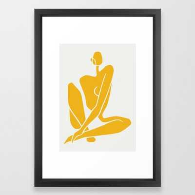 Sitting nude in yellow  - vector black - Society6