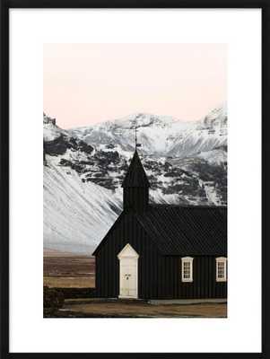 The black church of Búðir with black frame - Artfully Walls