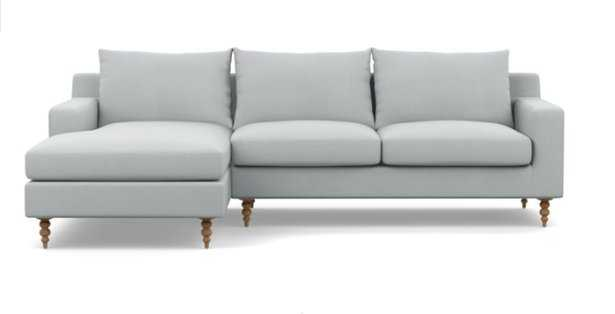 Sloan Left Sectional with Grey Ore Fabric, two cushions with standard fill and natural oak tapered turned wood leg - Interior Define