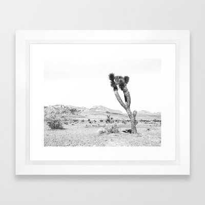 Vintage Desert Scape B&W // Cactus Nature Summer Sun Landscape Black and White Photography Framed Art Print - Society6
