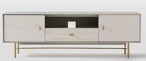 "Modernist Wood + Lacquer Media Console, 68"", Winter Wood - West Elm"