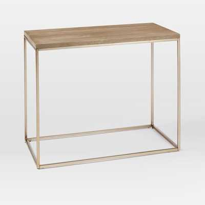 Streamline Narrow Side Table, Whitewash Mango, Light Bronze - West Elm