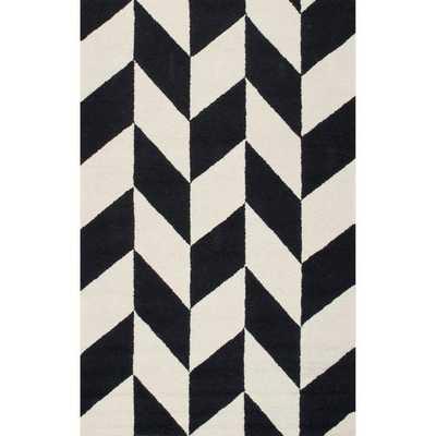 "Loom 23 Hand Hooked Hudson Black and White Area Rug,  7' 6"" x 9' 6"" - Loom 23"