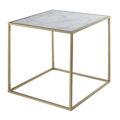 Theydon Faux Marble End Table - Wayfair