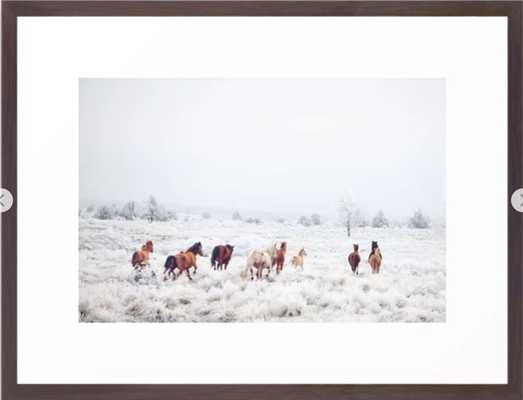 "Winter Horses Framed Art Print, 20"" X 26"", Conservation Walnut - Society6"