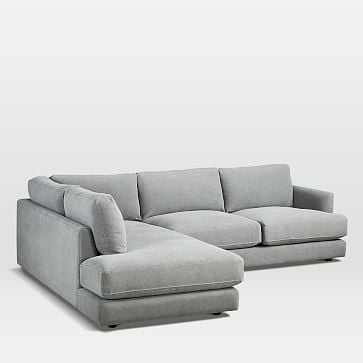 Haven Sectional 2, Right Arm Sofa, Left Arm Terminal, Performance Washed Canvas, Gray - West Elm