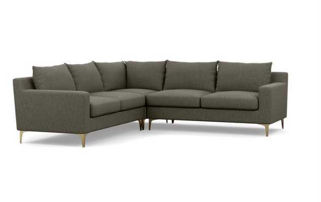 SLOAN Corner Sectional Sofa - Mushroom Cross Weave - 97'' - Interior Define