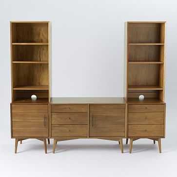 Mid-Century Media Without Hutch, Acorn (Small Console, 3-Drawer Base, 1 Door Base, 2 Narrow Hutches) - West Elm