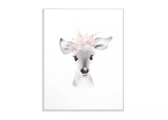 """12.5""""x0.5""""x18.5"""" Sketched Fluffy Deer Flowers Oversized Wall Plaque Art - Stupell Industries - Target"""