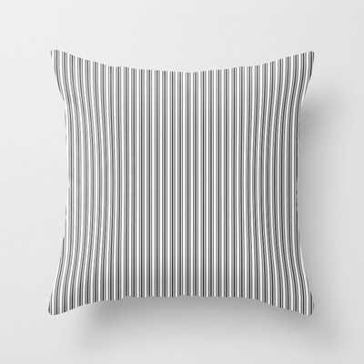 Classic Small Black Tarp Black French Mattress Ticking Double Stripes Throw Pillow, 20x20 - Society6