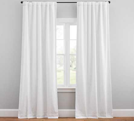 """Seaton Textured Cotton Rod Pocket Blackout Curtain, 50 x 96"""", White - Pottery Barn"""