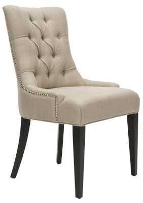 Amanda 19''H Linen Tufted Chair - Nickel Nail Heads - Antique Gold/Espresso - Arlo Home - Arlo Home