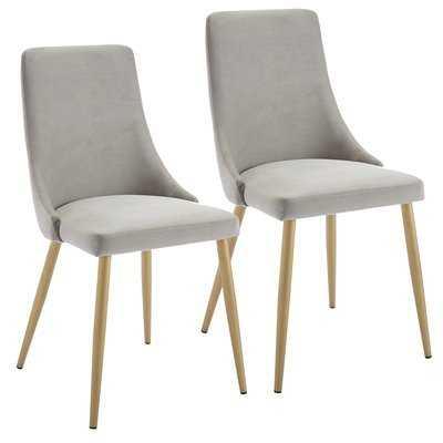 Heffernan Upholstered Dining Chair - Gray (Set of 2) - Wayfair